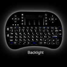 Rii mini i8+ 2.4G Wireless Keyboard Backlit English Hebrew Russian Spanish TouchPad Mouse Combo for PC HTPC IPTV Android TV Box(China)