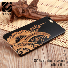 Laser Carve U&I Black Cover for iPhone 5 5S 6 6S 6Plus 7 7Plus Wood Elephant Cell Phone Case Wolf Icon Protection Capa Factory