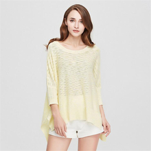 New women's irregular loose sweater O-neck long-sleeved knit shirt Fashion Batwing Sleeve Pullovers Flat Knitted Woman Sweater