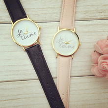 2015 Newest Style 1pcs/Lot Je Taime (Love You) Watch Fashion Words Cleanly Styled Dial Leather Watch For Ladies Quartz Watches