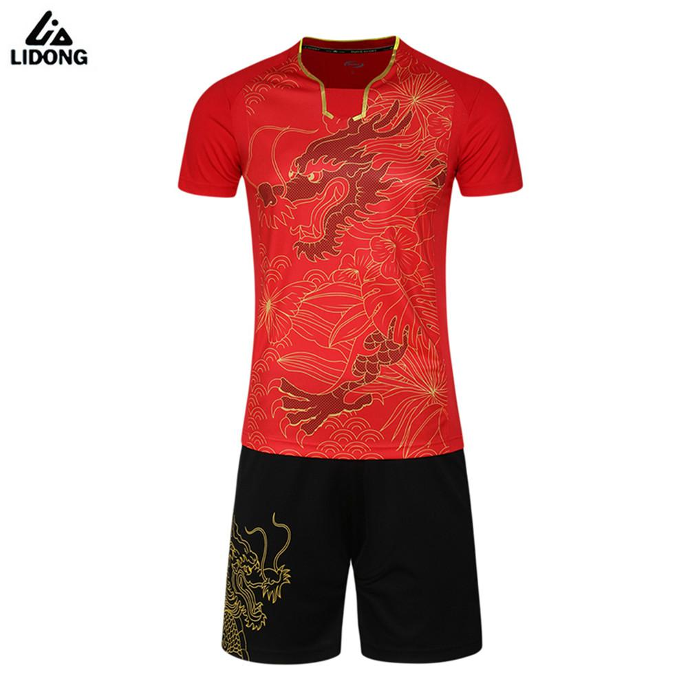 The Cheapest National Football League Team Jerseys New Arrival Chinese Elements Dragon Soccer Jerseys Sets Survetement Football Kits Sports Table Tennis Badminton Training