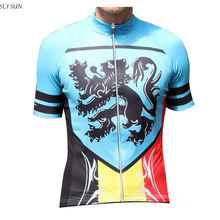 2017 Men Cycling Jersey belgium blue /road RACE Bike / Bicycle Wear / Jersey /Breathable Summer Ropa ciclismo maillot SLY SUN