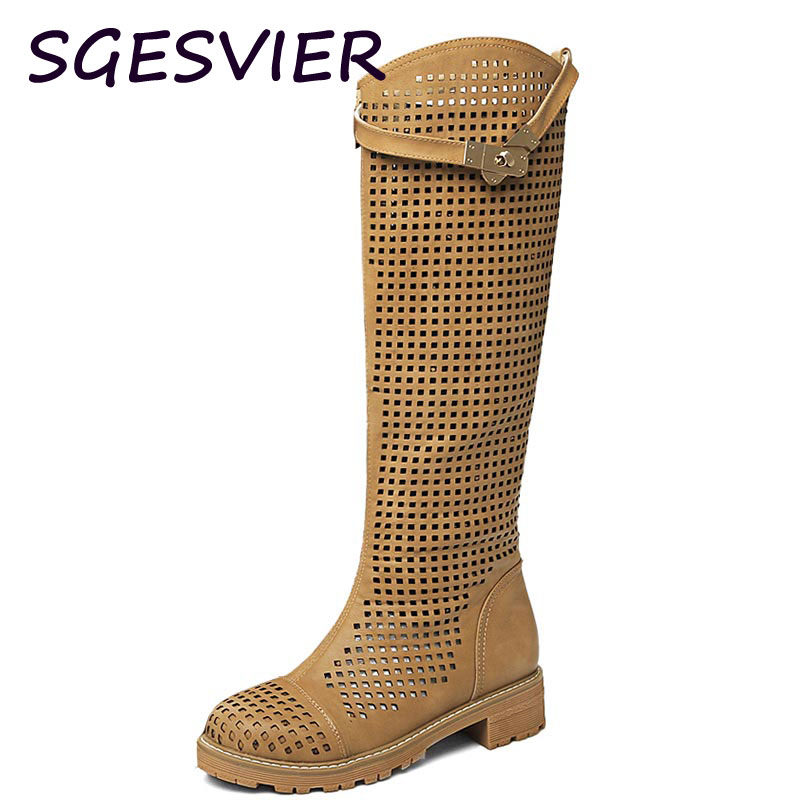 SGESVIER woman hollowed boots white yellow two color 2017 spring autumn metal decorated ladies shoes knee woman boots VV497<br>