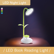 LED Book Reading Light sunflower lamp multi-function touch learning eye care LED mobile phone stand lamp(China)
