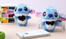 Kawaii 1Pair BIG Lover Lilo Stitch Plush Stuffed TOY DOLL ; 11*7CM Phone Strap Keychain & BAG Pendant TOY Wedding Gift TOY DOLL