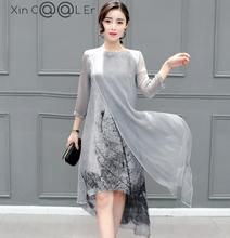 Sexy Summer Autumn Women Cotton Linen Long Dresses Irregular Folk Art Ink Print Casual Plus Size Slim Dress Retro Printing Gray - Beijing, China shopping center store