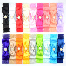 100pcs/lot U Pick Color Elastic Lace Headband with Smooth Satin Ribbon Bow girl Hair Band Accessories Bulk Price FDA226
