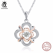 ORSA JEWELS Genuine 925 Silver Cute Flower Pendant Necklaces mixed Rose Gold Color with Movable 0.3 ct Crystal for Women SN14