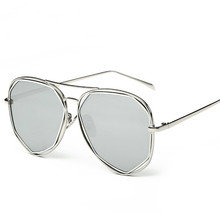 Fashion Women Sunglasses Classic Brand Designer Twin-Beams Coating Mirror Flat Panel Lens Summer Shades Lady Sun Glasses 2229(China)