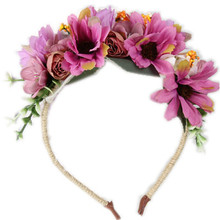 Beach Hairband flower women bridal headwear freeshipping fashion flower leaves Flower beach wedding pink flower headband