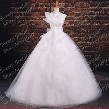 New High Collar Ball Gown Lace Wedding Dresses 2016 Cap Sleeves Sheer Neck Illusion Back White Bridal Gowns 7A379