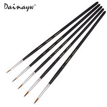5PCS Miniature Detail Paint Brush Set Finest Quality Soft BrushesPen For Acrylic Watercolor Oil Drawing Model Airplane Kits Nail(China)