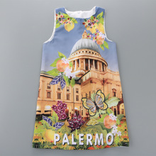 Italy Palermo Fashion Girl Dress 2017 Summer Print Children One-Piece Dresses 2-10years Flower Kids Outfits Jumpers