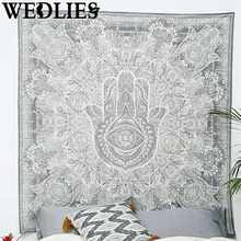 Grey Polyester Wall Hanging Tapestry Hand Indian Ethnic Mandala Bedspread Throw Mat Rug Home Room Dorm Decorative Accessories