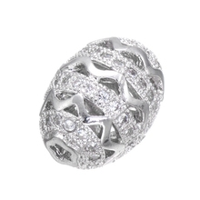High Quality Copper Accessories Handmade DIY Craft Silver Rhinestone Ball Beads For Jewelry Making Oval Shape Spacer Perlas