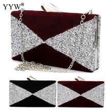 Brand Fashion Female Evening Party Bag Black Underfur Women Handbags Burgundy Flap Bag Geometric Shoulder Bags Women Clutch Bag(China)