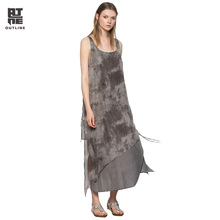 Outline Women Silk Maxi Beach Dresses Vintage Plus size Print Patchwork Sleeveless O-neck Lace-up Summer Lady Vestidos  L172Y047