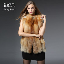 2017 Fashion Real Fox Fur Vest Natural Red Fox Fur Coat for Women Genuine Fox Fur Vest Jacket Wholesale Women's Outwear Clothing