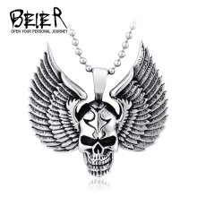 Beier Wholesale Stainless Steel Skull Pendant For Man Punk Jewelry BP8-138
