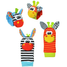 4pcs/lot Cute Baby Rattles Animal Shape Wristband Sock Bells For Little Boy Girl Educational Toy Soft Material Kids Gift Sale