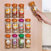 Newest 20 Clips/4 Pcs New Kitchen Organizer Door Cabinet Clip Rack Jar Storage Spice Bottle Holder Wall Gripper Useful Tools
