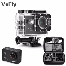 VeFly 2.0 inch Screen Wifi 1080P 4K Waterproof Sports Action Camera, black portable 16MP Sport Cam Go Pro Accessories case set(China)