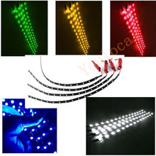 4PCS DIY Car Led Lamp String Waterproof Flexible Strip Light 30CM Auto Vehicle White Yellow Red Blue Green 15SMD Decor