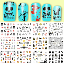 Mtssii 12 Designs Nail Art Stickers Water Transfer Nail Sticker Decals Wraps Nail Decoration Halloween Skulls 6.1*5.4cm(China)