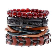 2017 Newest Fashion Men Leather Bracelets Leather Rope Weave Bracelet Classic Wax Line Adjustable Hand Bracelet Male Jewelry