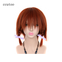 ccutoo Himekami Akane Female's Auburn Short Side Braids Heat Resistance Synthetic Hair Cosplay Costume Wigs(China)