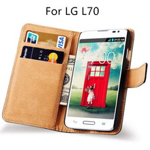 for LG L70 Flip Luxury case Split leather phone Protective sleeve Cards With Stand Cover black Cases 70 for LGL70 LG70(China)