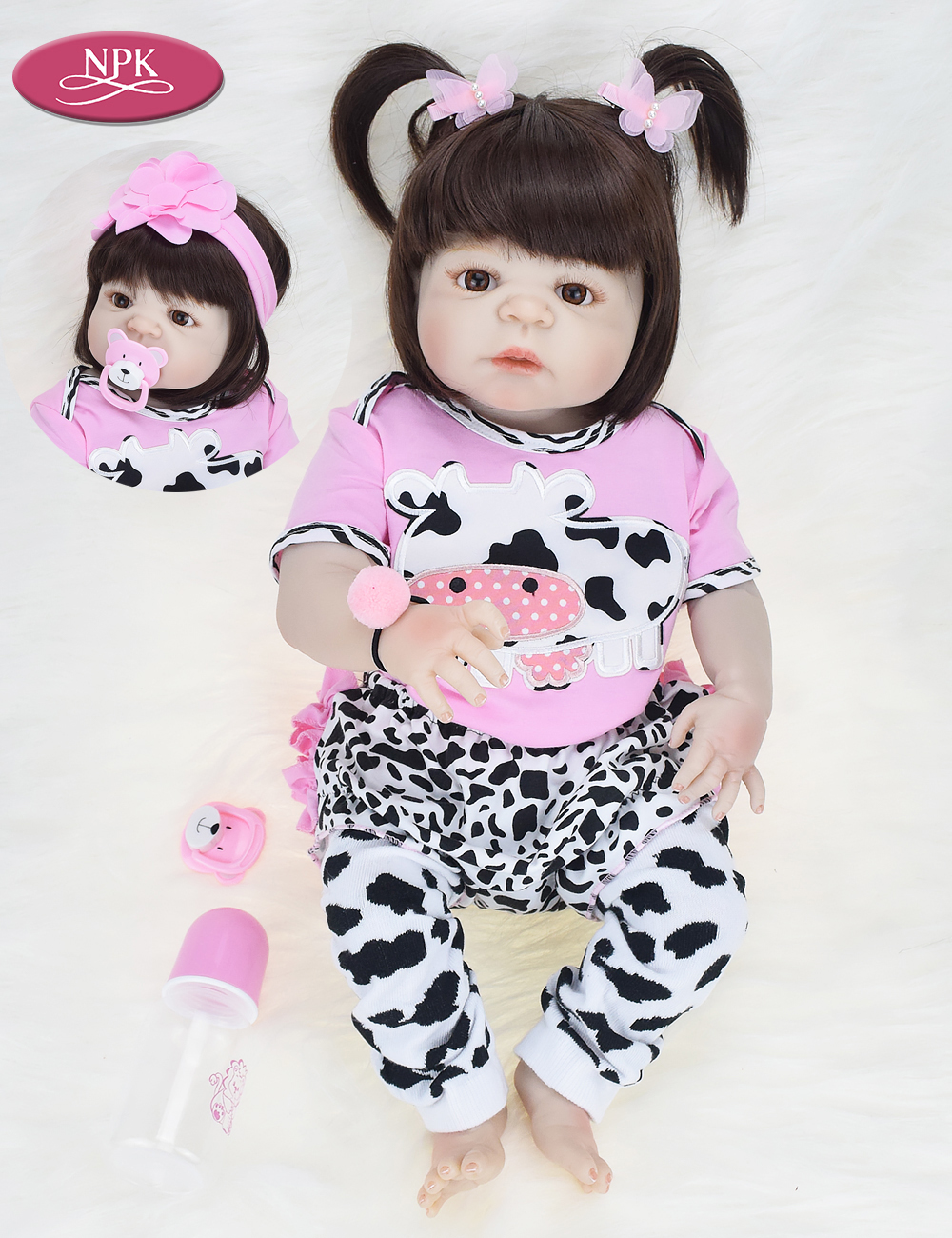 NPK Real 57CM Full Body SIlicone Girl Reborn Babies Doll Bath Toy Lifelike Newborn Princess Baby Doll Bonecas Bebe Reborn Menina (15)
