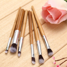 6 Pcs Professional Eye Makeup Brushes Bamboo Handle Cosmetics Professional Makeup Brush Set