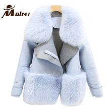 Fur & Faux Fur Coat For Women Denim Tops & Jacket Female Artificial Sheepskin Coats Fluffy Rabbit Fashion Online Shop Clothing(China)