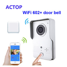 Free Shipping!!Smart phone iSO Android Remote control unlock WiFi/IP video door phone+wireless door bell camera