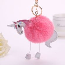 1 PC Newest Unicorn Key Chain Pendant Women Artificial Fluffy Fur Keyring Bag Car Hang Jewelry Girl Key Ring Women Keychain(China)