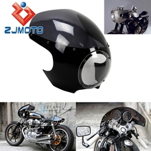 "5-3/4"" Headlight Fairing Motorcycle Black and Smoky ABS Motorbike Front Fairing For Cafe Racer Sportster Dyna W/39mm Forks FX/XL"