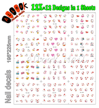 Nail Art (Large Piece YB397-408 12 DESIGNS IN 1)Cartoon Hello Kitty Design Nail Art Water Transfer Sticker Decal For Nail