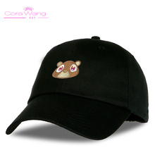 Cora Wang Snapback men's hats Baby Bear Embroidery Baseball Caps fitted cap Solid Color off white Pink Black women hat(China)