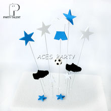 1set Birthday Cake Toppers for Kids Children Birthday Party DIY Baking Cake Decoration Cake Accessory Football Theme