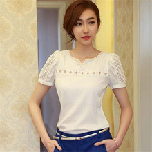 Summer 2017 Fashion Lady Women Lace Blouse Solid Short Sleeve Doll Blouse Sexy V Neck Hollow Out Chiffon Blouse Tops for girl(China)