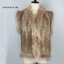 Genuine Rabbit Fur Vest Knitted Rabbit Fur Gelit With Raccoon Fur Waistcoat Plus Size Winter Fur Vest DFP786