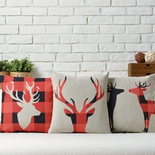 Free shipping Novelty xmas gift Red black checked plaid elk reindeer pattern cushion cover home decorative throw pillow case