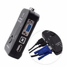 2 Port USB VGA KVM Switch Box And Cables for Computer Sharing Monitor Keyboard Mouse + 2pcs VGA Cable Free Shipping