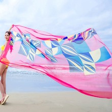 140x190cm Summer Beach Sarongs Chiffon Towel  Geometrical Design Swimsuit Cover Up Bikini Beach Towel