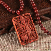 Genuine Blood Sandalwood Craved Necklace Guan Yu Dragon Phoenix Pattern Pendant Necklace Jewelry For Male Female Gift(China)