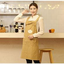 New Big Cute BowKnot Cotton For Woman Lady Kitchen Restaurant Bib Cooking Aprons With Pocket Custom Apron