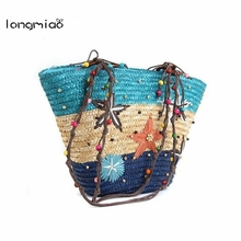 Longmiao Brand 2016 Hot Sale Straw Beach Bags Totes Women Shoulder Large Capacity Beach Durable Ladies Summer Starfish Bags(China)