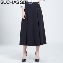 Skirts Womens New 2017 Spring Summer Fashion Knit Black High Waist Elastic Mid Long Pleated Skirt Plus Size Female Skirts