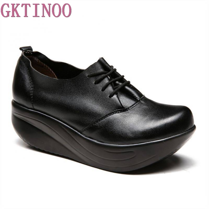 Plus Size Black Genuine Leather Shoes 2018 Autumn and winter Womens Shoes Wedges Platform Swing Shoes Weight Lose<br>